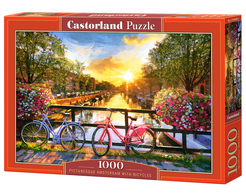 Puzzle Castorland Picturesque Amsterdam with Bicycles 1000 Dielikov