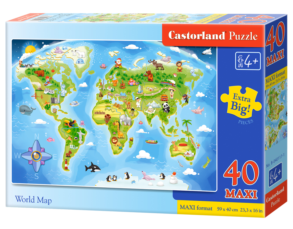 Puzzle Castorland World Map 40 dielikov